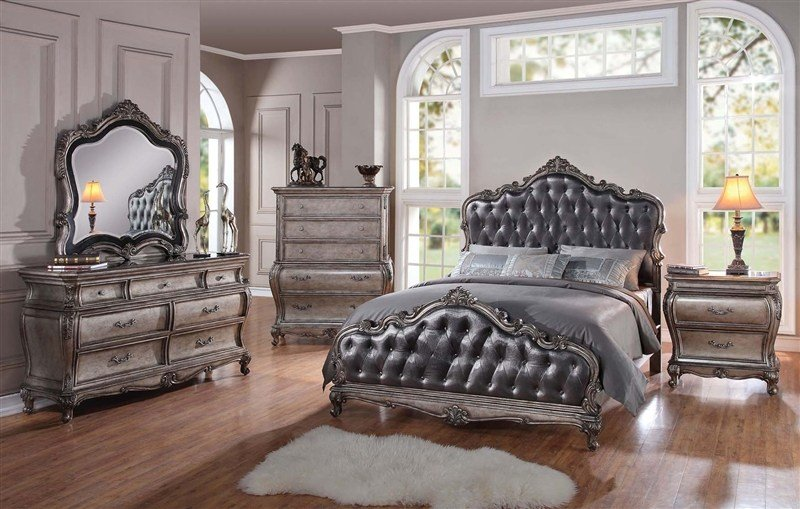 Best Chantelle 6 Piece Bedroom Set In Antique Silver Finish By With Pictures