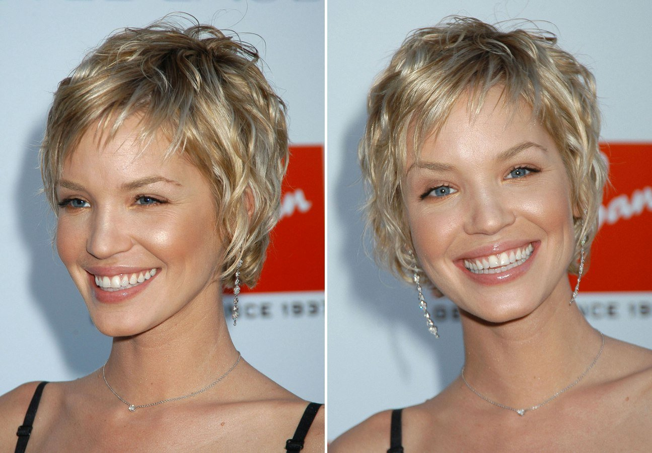 Free Ashley Scott Sporting A Very Short Layered Hairstyle Wallpaper