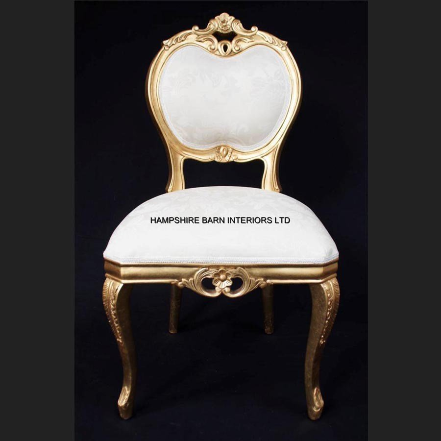 Best Heart Ornate Chair Gold Ivory Cream Dining Side Bedroom With Pictures