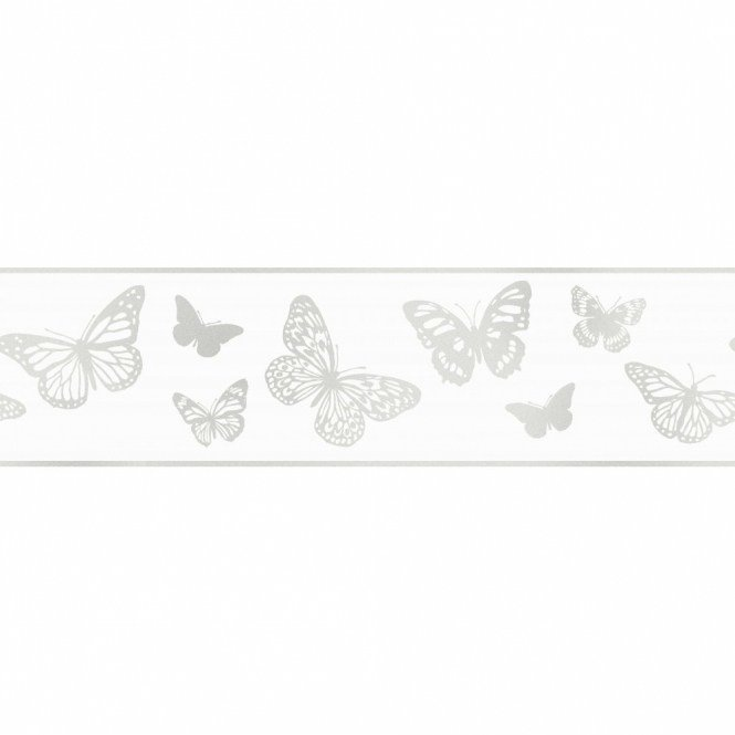 Best Fine Decor Glitz Butterfly Glitter Wallpaper Border White With Pictures