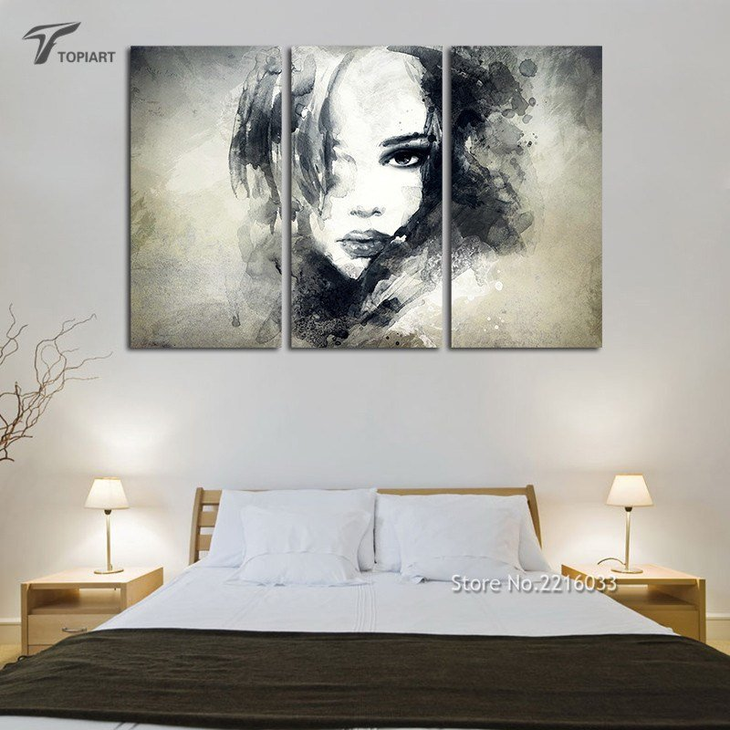 Best Wall Decor Canvas Painting Watercolor Black And White Art With Pictures