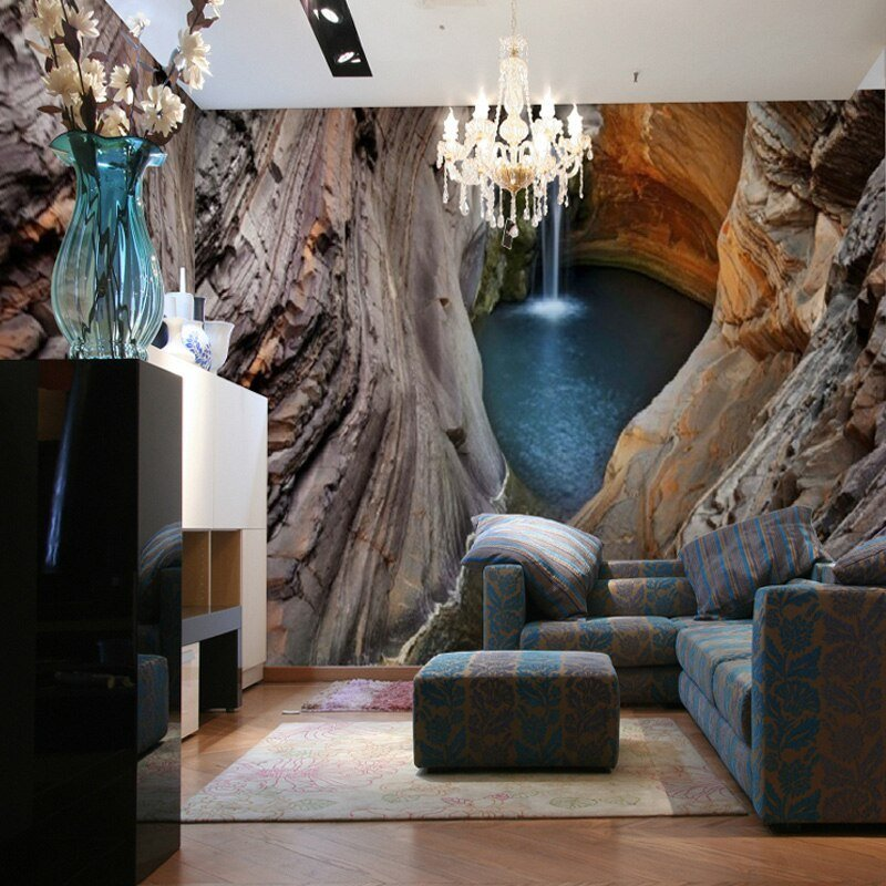 Best Custom 3D Stereo Large Mural Cave Waterfall Non Woven With Pictures