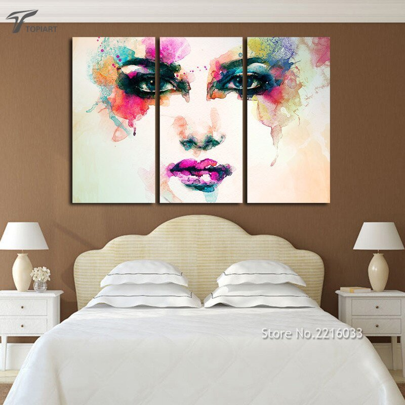 Best Aliexpress Com Buy 3 Piece Canvas Picture Watercolor Paintings Color Woman Face Art Wall With Pictures