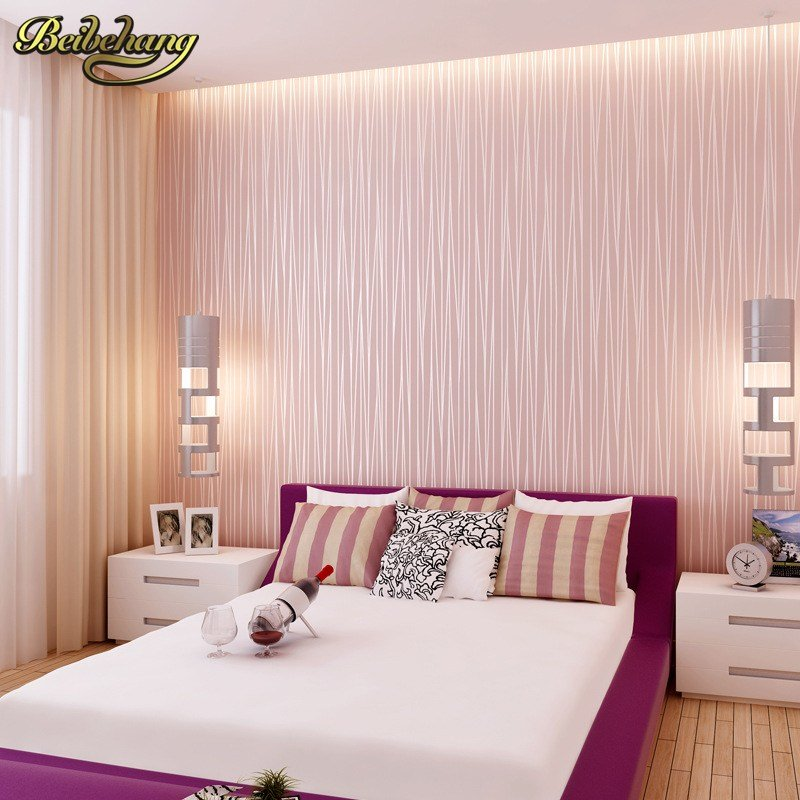 Best Beibehang Modern Plain Pink Wallpaper Stripe Classic Pink With Pictures