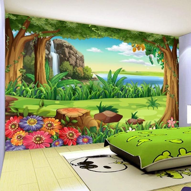 Best 3D Wallpaper Children Cartoon Forest Landscape Photo Wall With Pictures