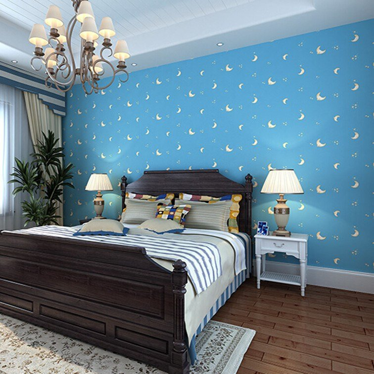 Best Sky Blue Color Moon Face Romantic Children Bedroom Non With Pictures