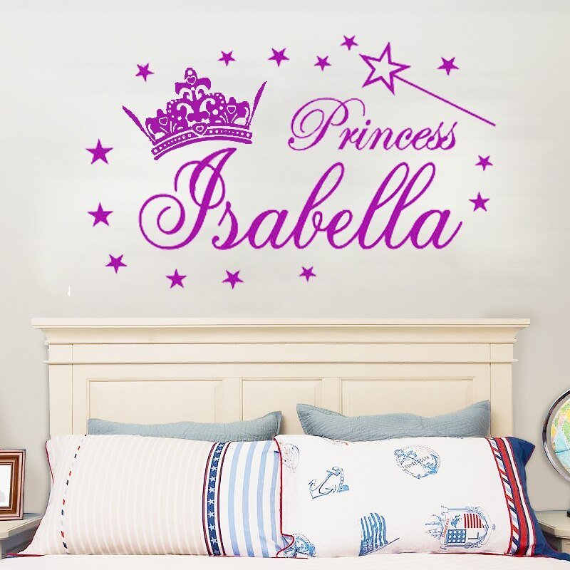 Best G291 Personalized Name Princess Tiara Magic Wand Girl Wall Stickers Decals Vinyl Diy Girl With Pictures
