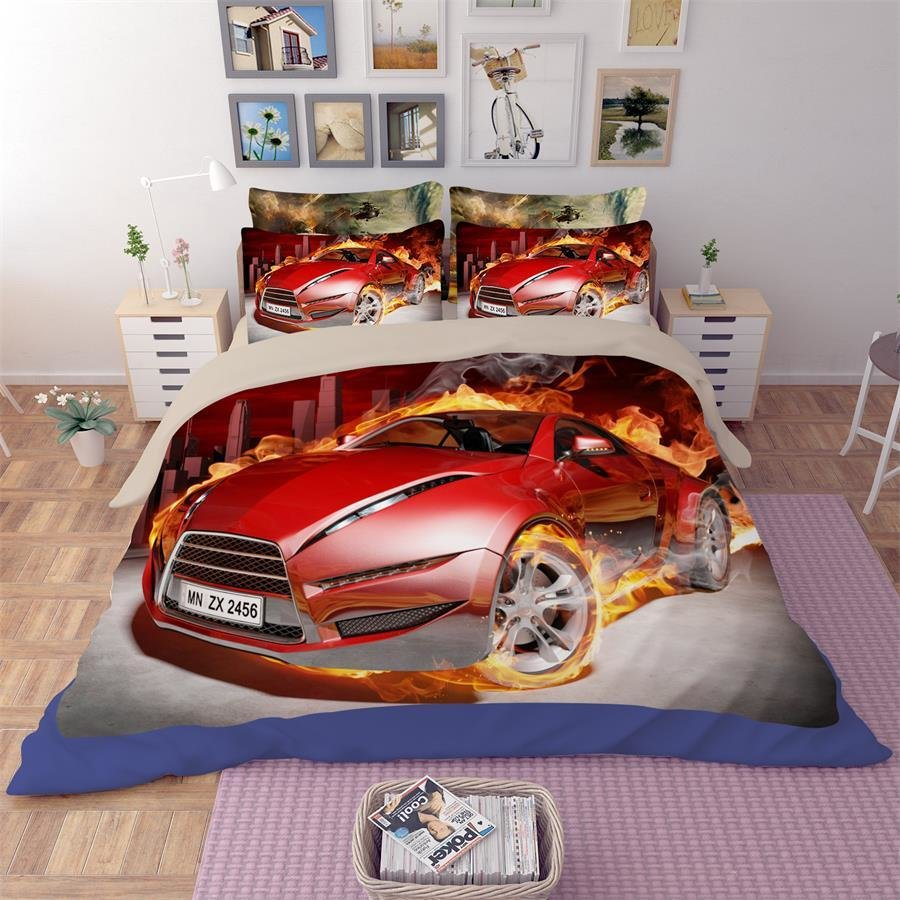Best Cool Race Car Sports Car Bedding Set Twin Queen King Size Duvet Cover Bed Sheet Pillowcase 3D With Pictures