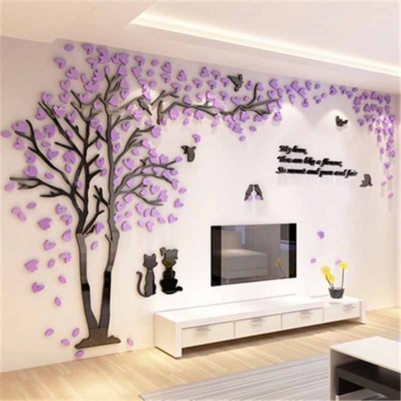 Best Creative Couple Tree 3D Sticker Acrylic Stereo Wall With Pictures