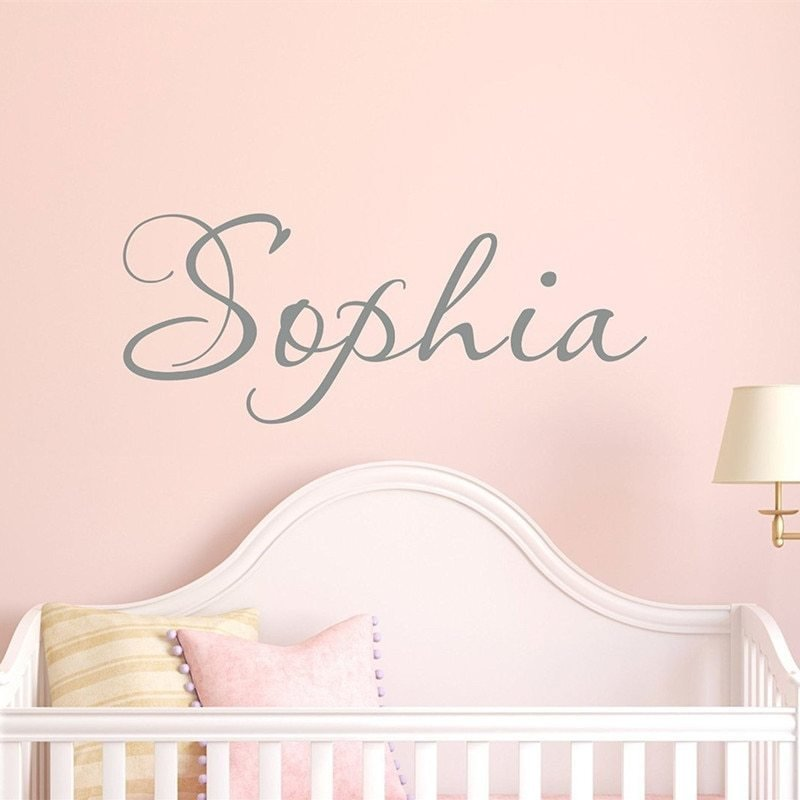 Best C055 Personalise Custom Girls Name Wall Stickers Kids Name With Pictures