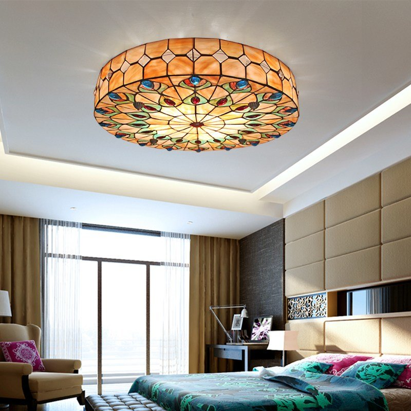 Best Tiffany Stained Glass Ceiling Light Living Room Bedroom With Pictures