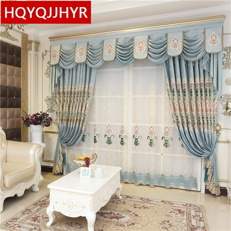 Best Luxury Royal Blue Embroidered High Shade Curtains For Villa Living Room Europe Classic Curtains With Pictures