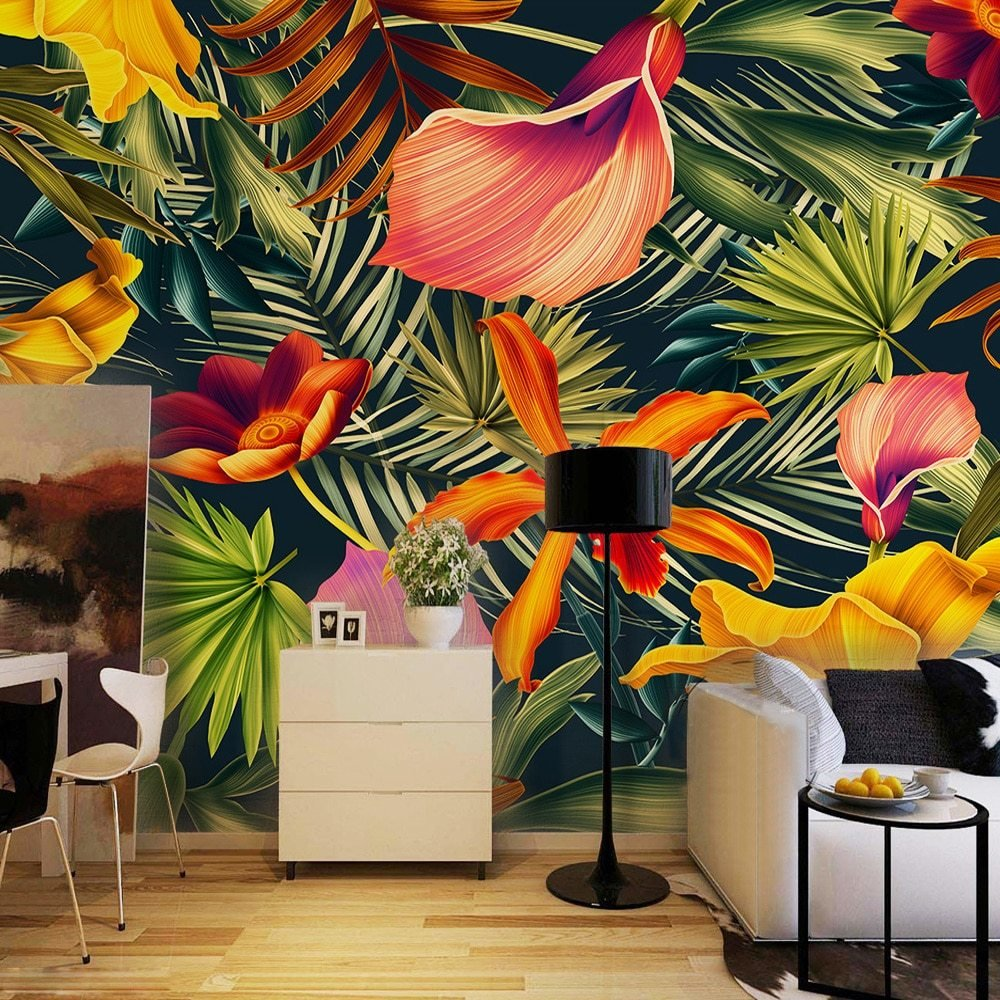 Best Custom Wall Mural Tropical Rainforest Plant Flowers Banana Leaves Backdrop Painted Living Room With Pictures
