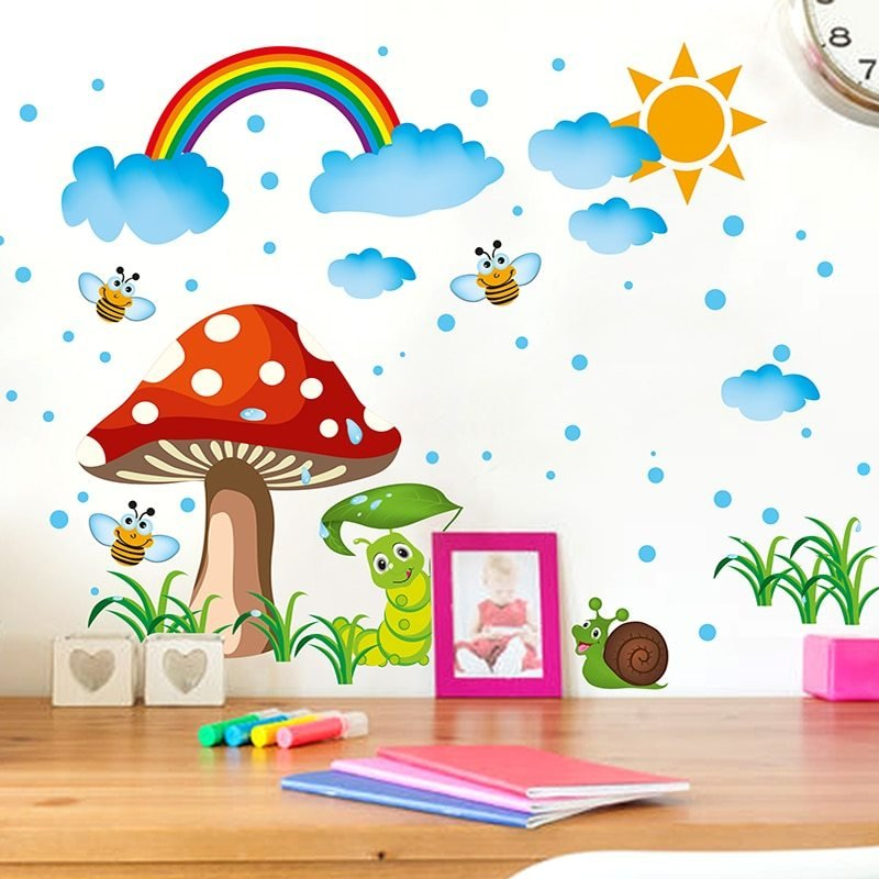 Best Removable Rainbow Wall Stickers Creative Mushroom Wall Art Diy Cartoon Insects Home Decor Decals With Pictures