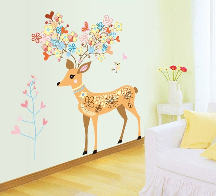 Best New Colorful Deer Large Wall Stickers Cartoon For Kids Rooms Decor Bedroom Diy Art Mural Decals With Pictures