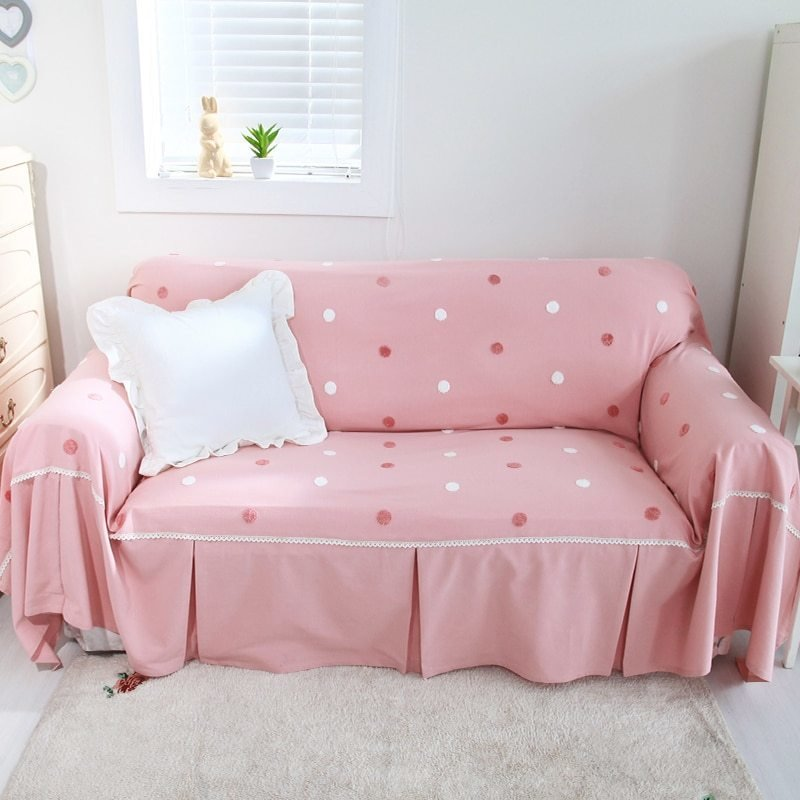 Best Pastoral Cotton Candy Dot Sofa Cover Pink Sofa Covers For Girls Room In Sofa Cover From Home With Pictures