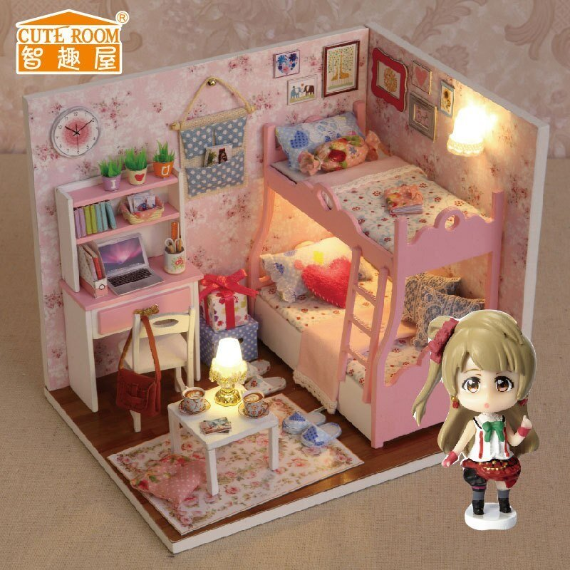 Best H012 New Arrive Diy Doll House Miniatura Bedroom 3D Wooden With Pictures
