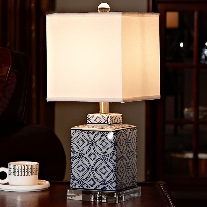 Best Luxury Blue And White Porcelain Table Lamp Luxury Bedroom Bedside Lamp Ceramic With Crystal Base With Pictures