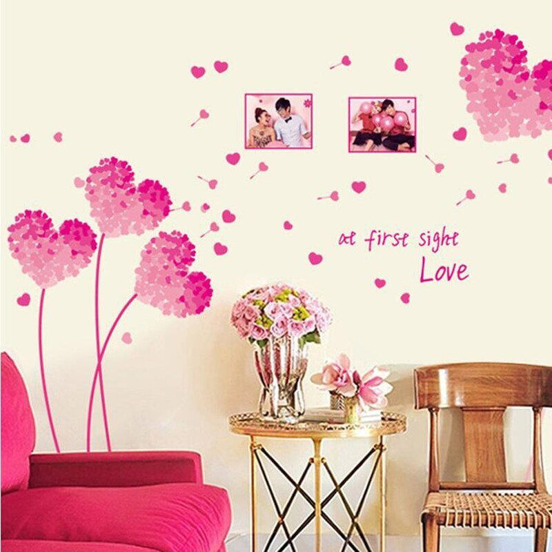 Best Large Heart Wall Stickers Pink Love Decorative Wall Decals Wedding Room Girls Bedroom Decoration With Pictures