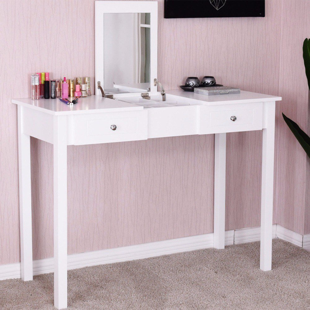 Best Giantex Modern Makeup Vanity Table White Bedroom Dressing With Pictures