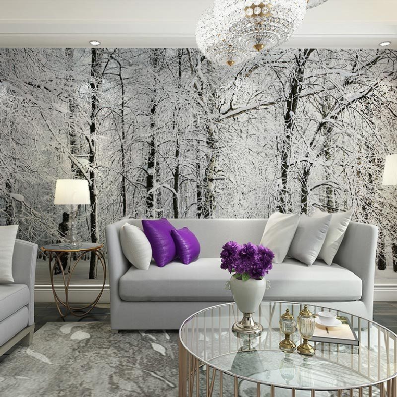 Best Large Wall Murals Papel De Parede Snow Birch Trees Forest With Pictures