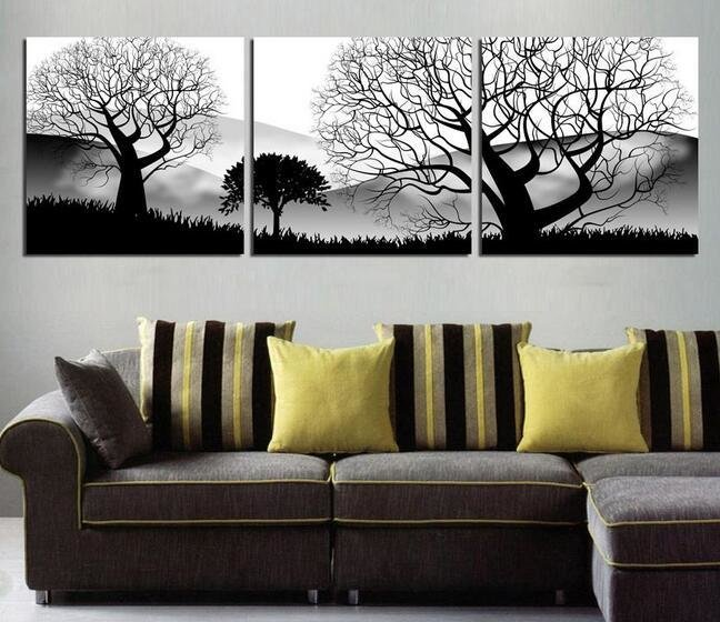 Best Oil Painting 3 Panels Modern Living Room Wall Hanging Art With Pictures