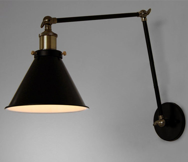 Best Antique Black Retro Industrial Adjustable Wall Lamp Long With Pictures