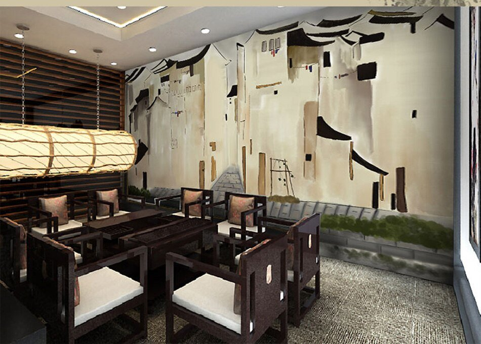 Best Retro Building Landscape Painting View Wallpaper Mural With Pictures