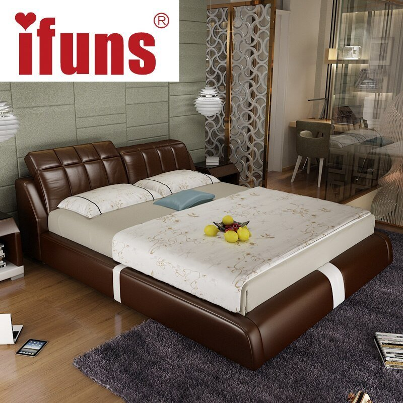 Best Aliexpress Com Buy Ifuns Cheap Bedroom Furniture Double Sofa Bed Frame Genuine Leather Black With Pictures