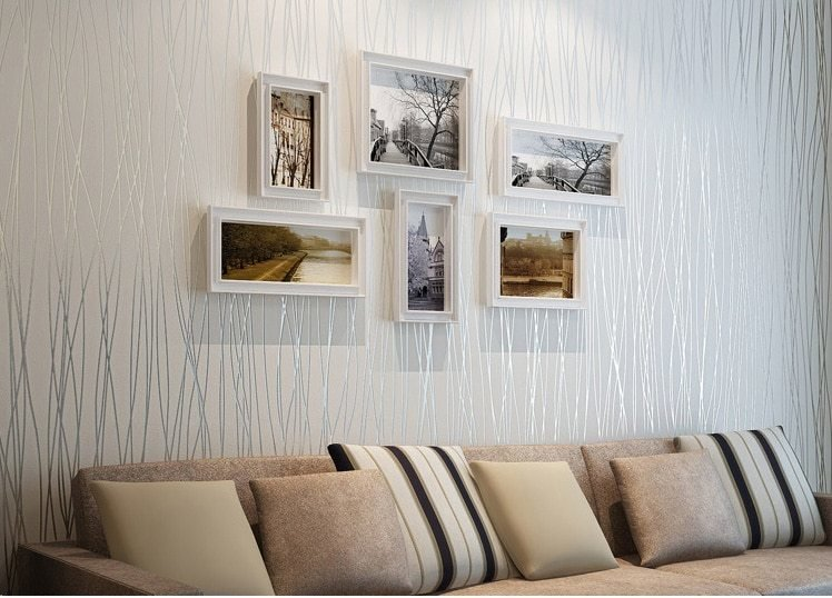 Best Plain Simple Vertical Stripes Woven Flocking Living Room With Pictures