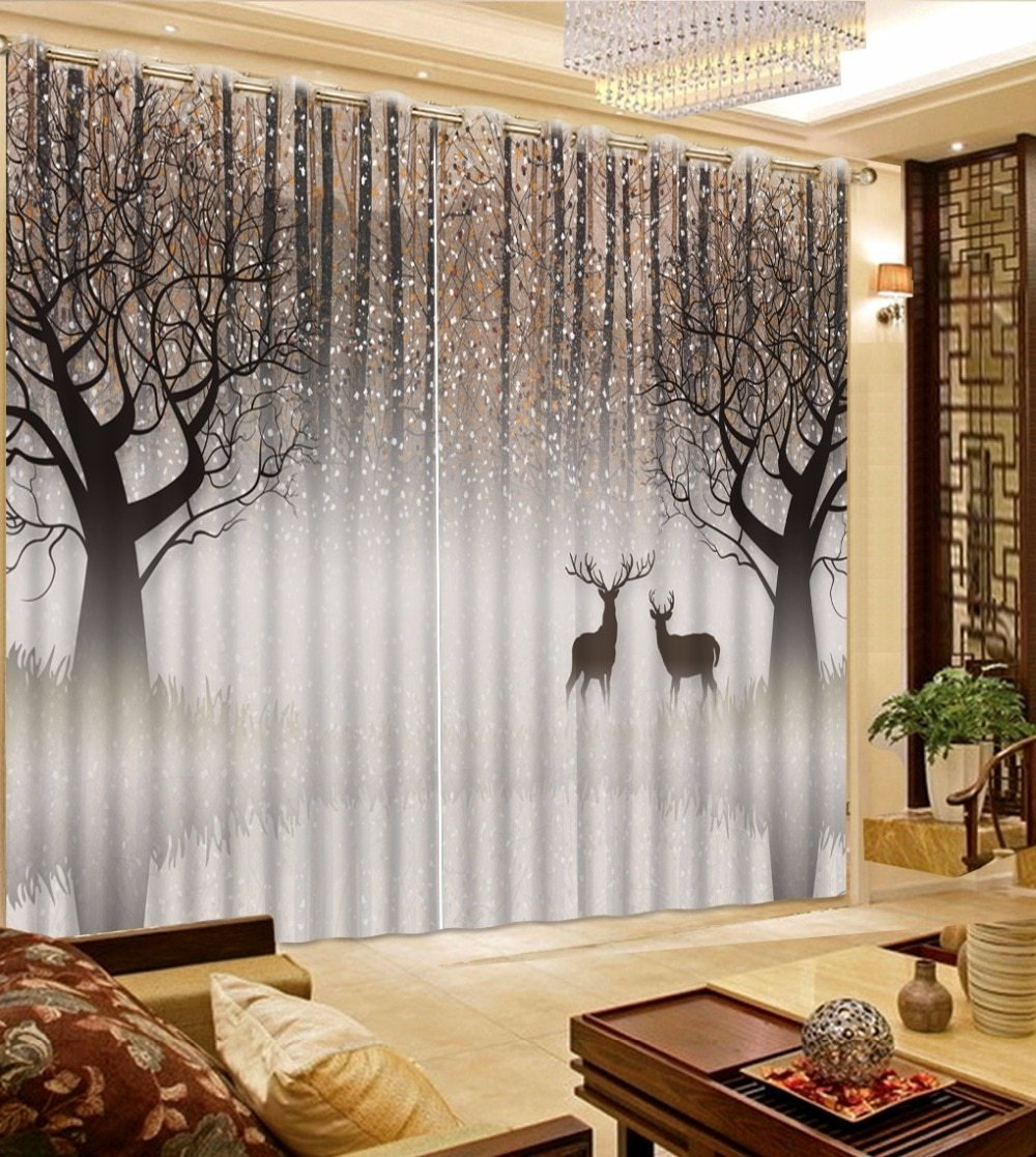 Best Black And White Bedroom Curtains European Photo Printed 3D With Pictures