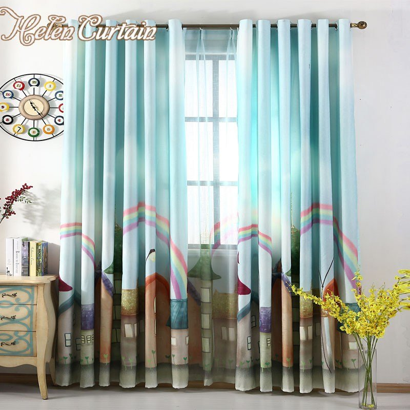 Best Helen Curtain 3D Printed Rainbow Town Blackout Kids With Pictures