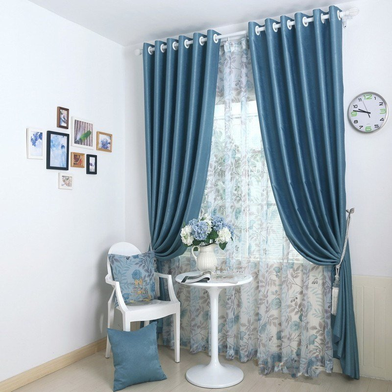 Best ⓪Bedroom Window Blue ᗐ Curtains Curtains Solid Blackout With Pictures