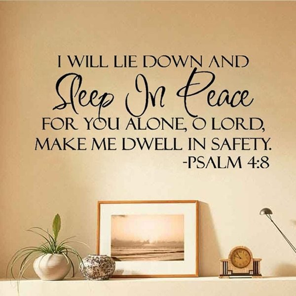Best Sleep In Peace Bible Verse Wall Stickers Quote Lettering With Pictures