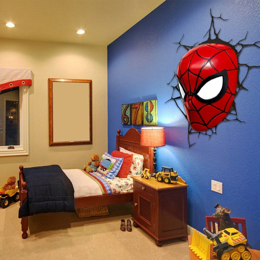 Best 3D Poster Wall Lamp Cartoon Spiderman Action Head Shaped With Pictures