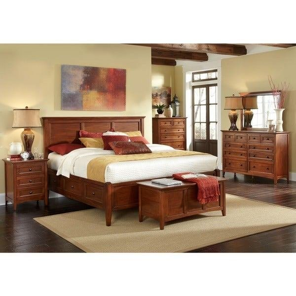 Best Shop Simply Solid Aiden Solid Wood 5 Piece Queen Bedroom Collection On Sale Free Shipping With Pictures