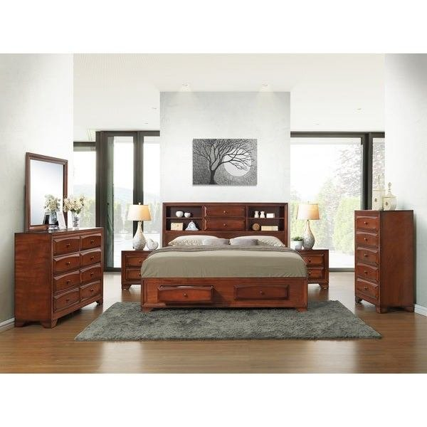Best Asger Antique Oak Finish Wood King Size 6 Piece Bedroom With Pictures