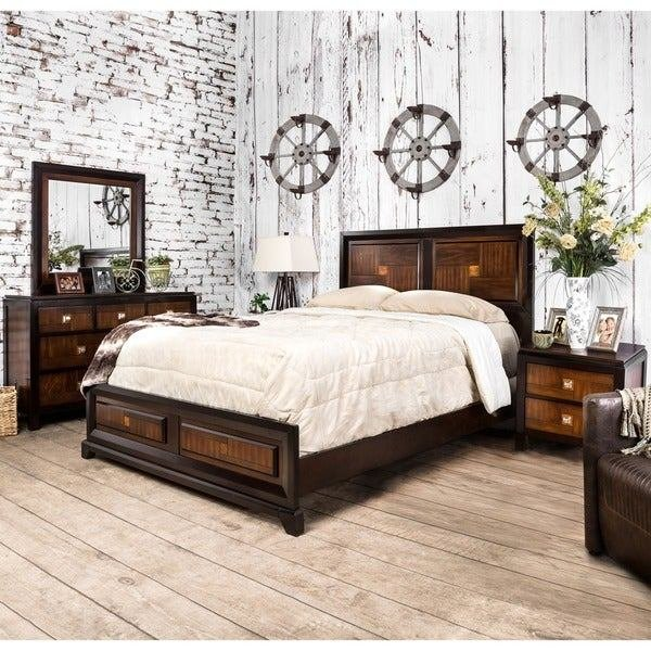 Best Shop Furniture Of America Duo Tone 4 Piece Acacia And Walnut Bedroom Set On Sale Free With Pictures