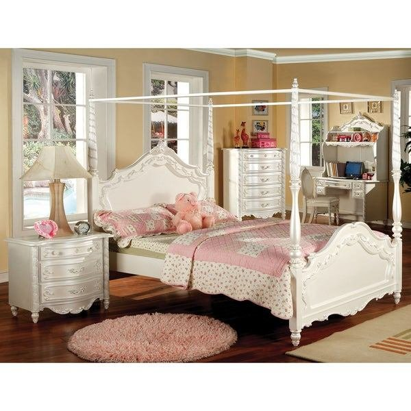 Best Shop Furniture Of America Talia Pearl White 2 Piece Canopy With Pictures