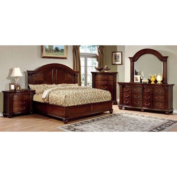 Best Shop Furniture Of America Vayne I 4 Piece Traditional Cherry Bedroom Set Free Shipping Today With Pictures