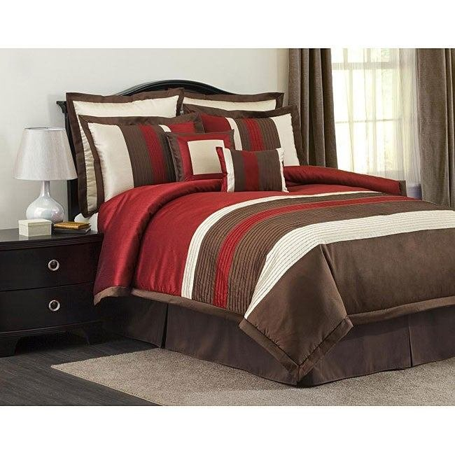 Best Lush Decor Red Brown Modern Stripe 8 Piece Comforter Set With Pictures