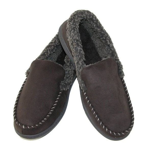 Best Dearfoams Men S Microsuede Moccasin Slippers With Memory With Pictures