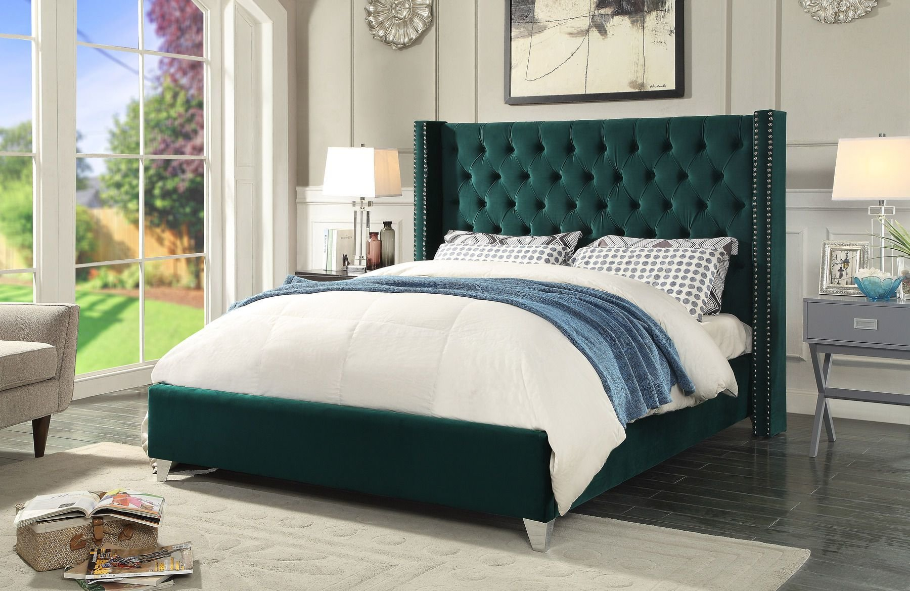 Best Aiden Green Queen Size Bed Aiden Meridian Furniture Modern With Pictures