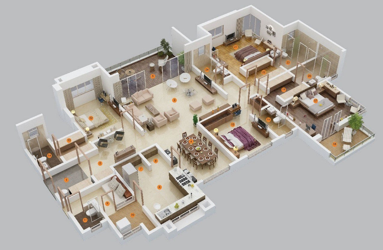 """Best 50 Four """"4"""" Bedroom Apartment House Plans Architecture With Pictures"""