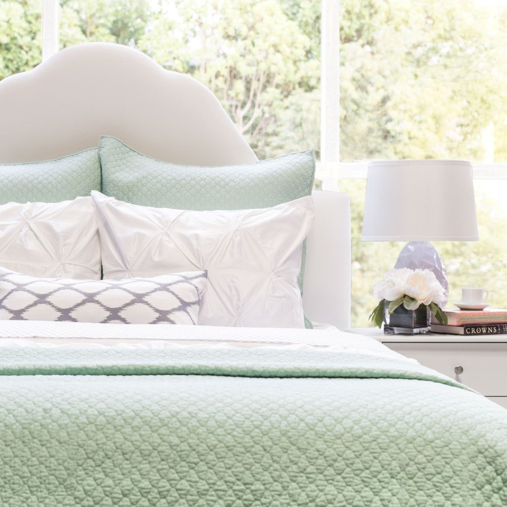 Best Green Quilt And Sham Cloud Seafoam Green Crane Canopy With Pictures