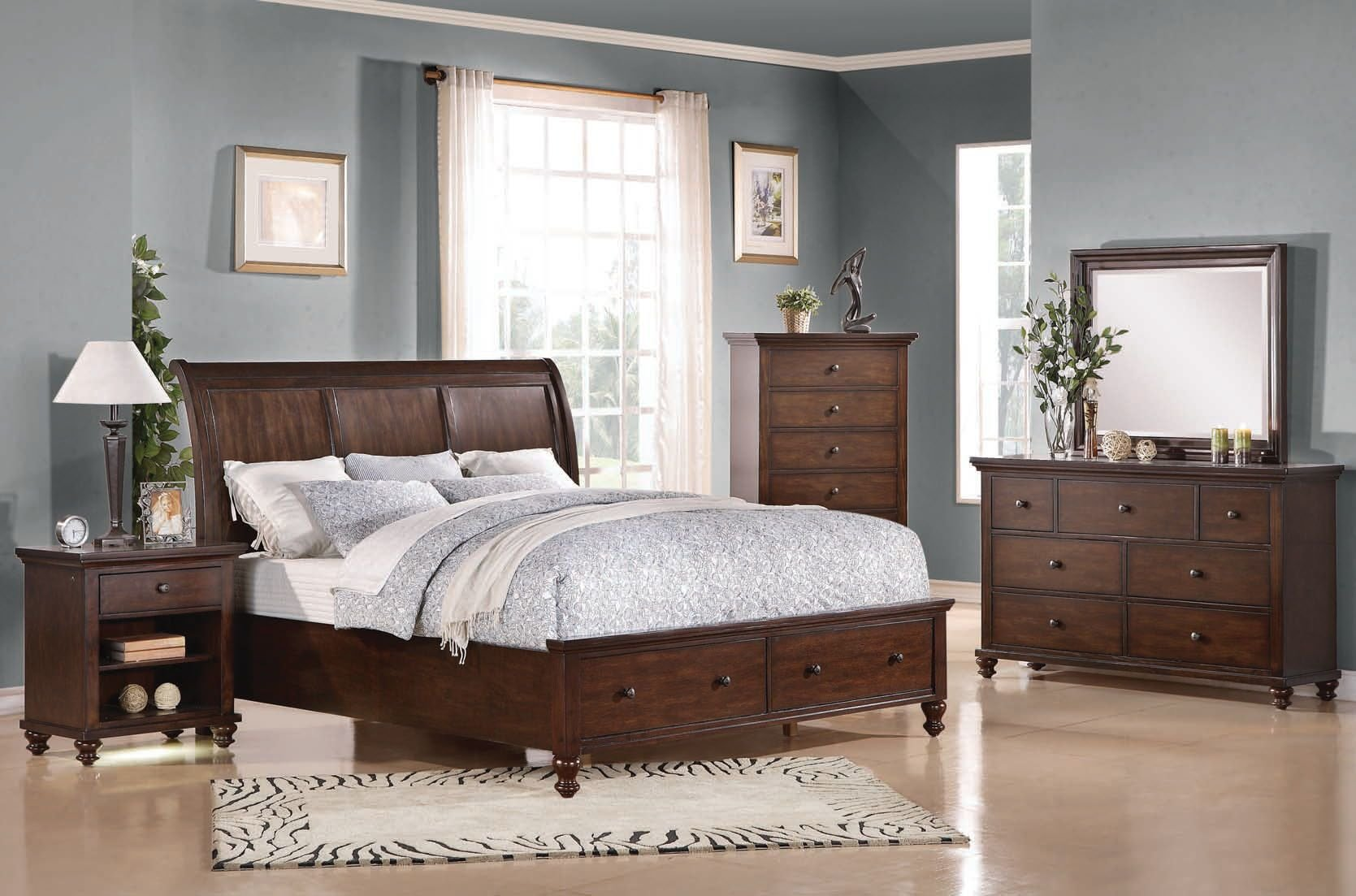 Best Aceline Coastal Brown Cherry Wood Master Bedroom Set The With Pictures