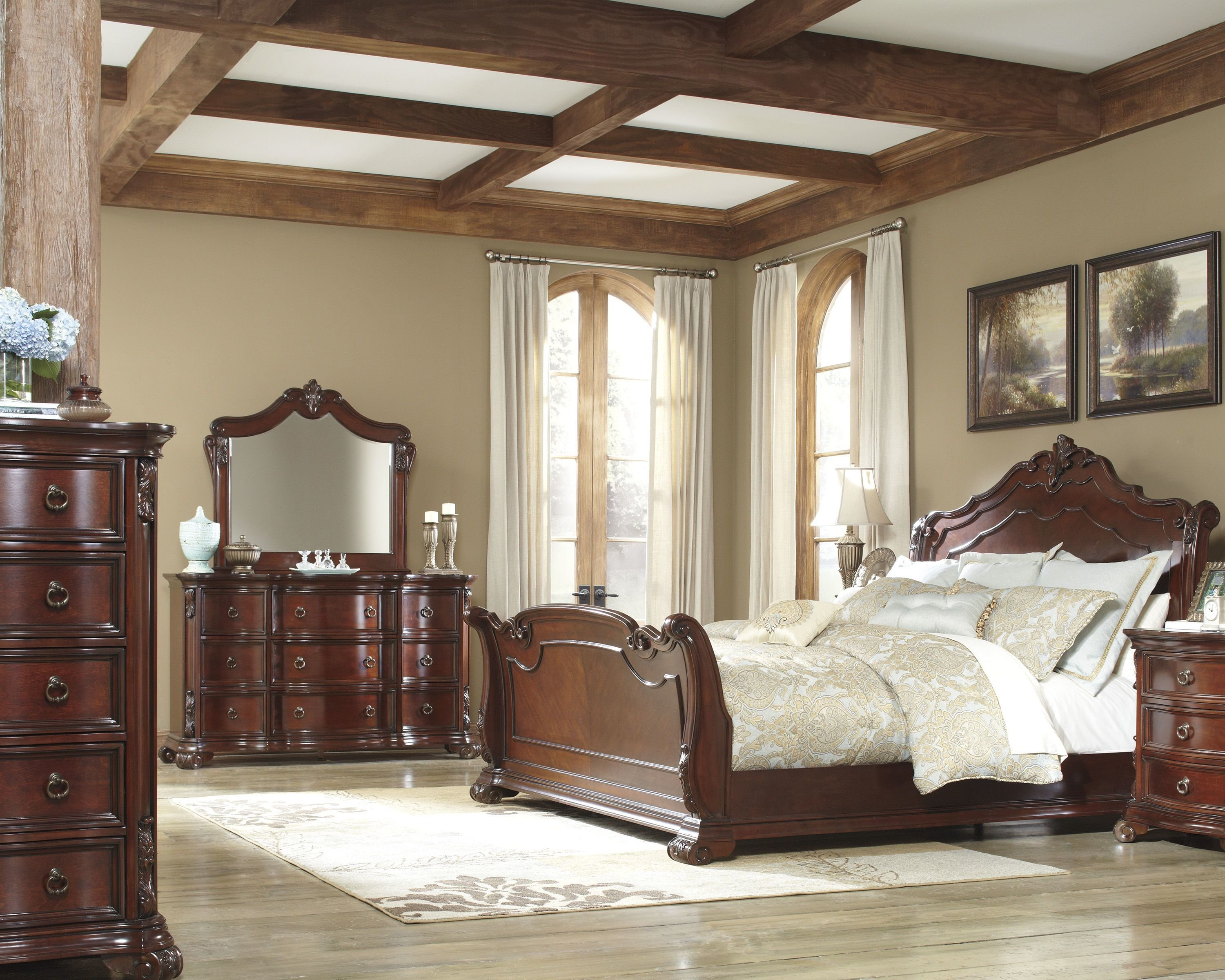 Best Martanny Warm Brown Wood Glass Master Bedroom Set The With Pictures