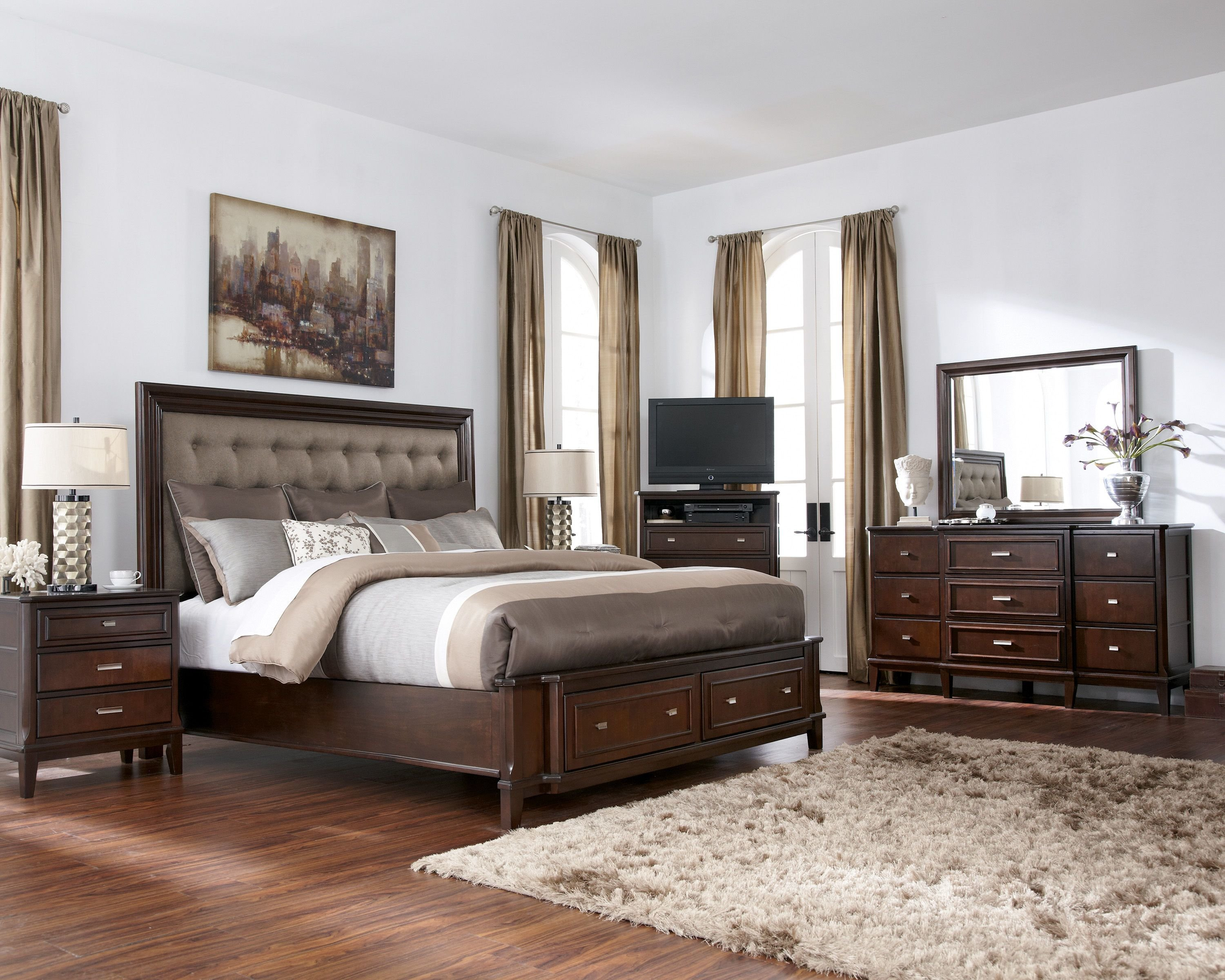 Best Larimer Contemporary Brown 5Pc Bedroom Set W Queen Storage Bed The Classy Home With Pictures