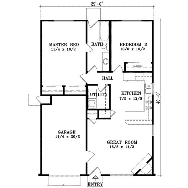 Best Ranch Style House Plan 2 Beds 1 00 Baths 921 Sq Ft Plan With Pictures