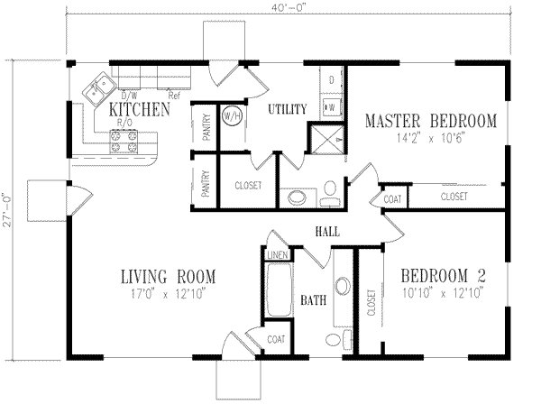 Best Ranch Style House Plan 2 Beds 2 00 Baths 1080 Sq Ft Plan 1 158 With Pictures